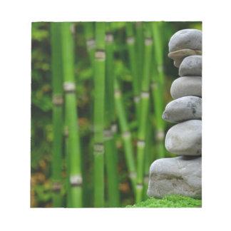 Zen Garden Meditation Monk Stones Bamboo Rest Notepad