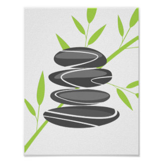 Zen garden pebble stone stacking and bamboo poster