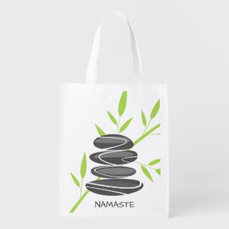 Zen garden pebbles reusable grocery shopping bags