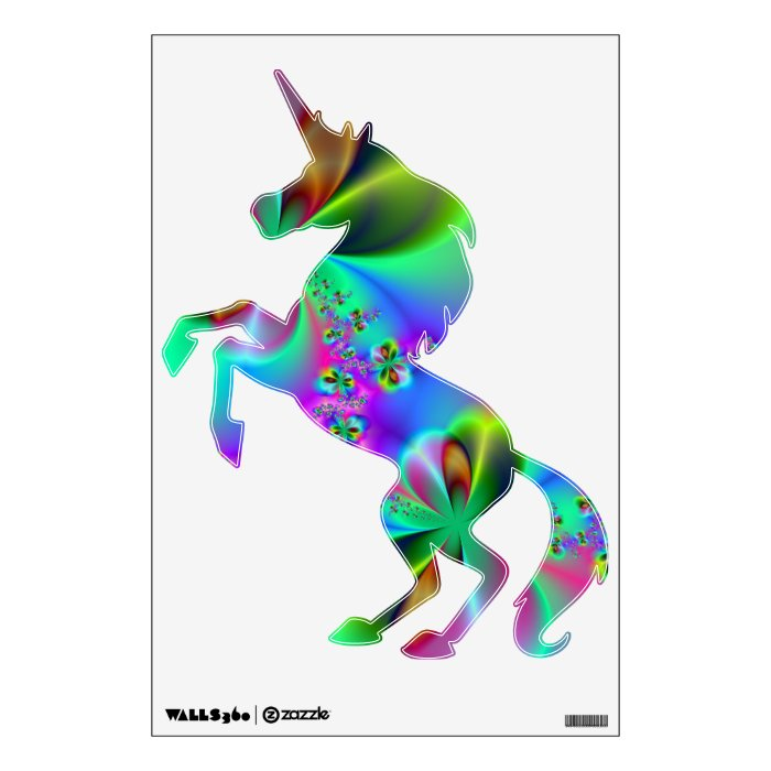 Zen Garden Rearing Unicorn Wall Decal Zazzle