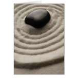 zen garden with pebble detail on raked sand greeting card