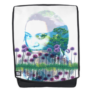 Zen Garden Woman Asian Bonsai + Purple Allium Backpack