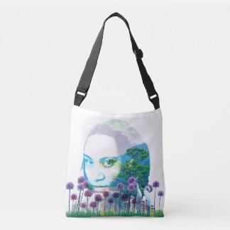 Zen Garden Woman Asian Bonsai + Purple Allium Crossbody Bag