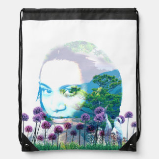 Zen Garden Woman Asian Bonsai + Purple Allium Drawstring Backpack