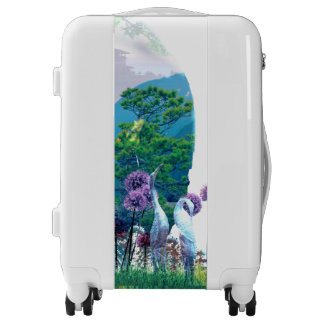 Zen Garden Woman Asian Bonsai + Purple Allium Luggage