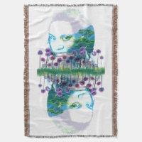 Zen Garden Woman Asian Bonsai   Purple Allium Throw Blanket