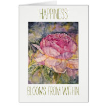 Zen Happiness Floral Watercolor Card