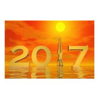 Zen happy new year 2017 - 3D render Stationery
