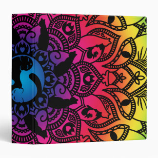 Zen Henna Mandala Hippy Cat 3 Ring Binder