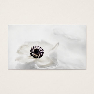 Zen High Key White Anemone on Water Background Business Card