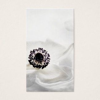 Zen High Key White Anemone on Water Background Cus Business Card