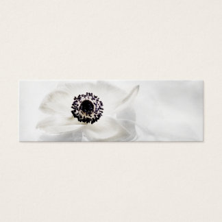 Zen High Key White Anemone on Water Background Mini Business Card