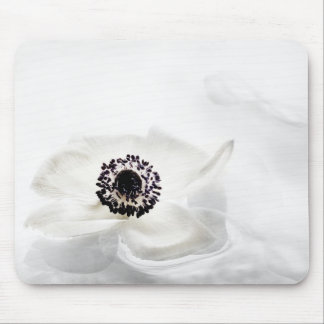 Zen High Key White Anemone on Water Background Mouse Pads