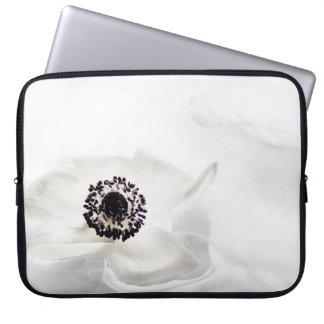 Zen High Key White Ranunculus on Water Background Laptop Computer Sleeve