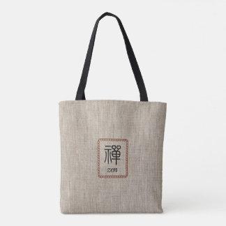 Zen in leather frame on burlap print tote bag