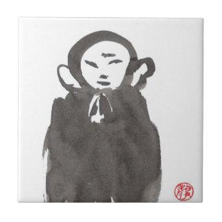 Zen Ink Jizo the Monk Tile