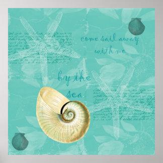 Zen Inspired Beach Theme Starfish Poster