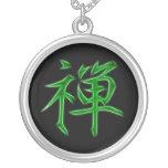 Zen Japanese Kanji calligraphy Symbol Round Pendant Necklace