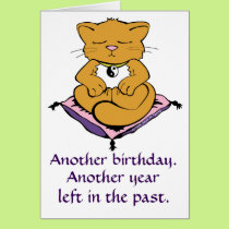 Zen Kitty Cat Meditation Yoga Birthday Card
