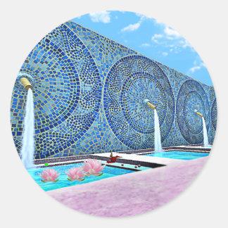 Zen Lotus Bath Classic Round Sticker, Glossy Classic Round Sticker