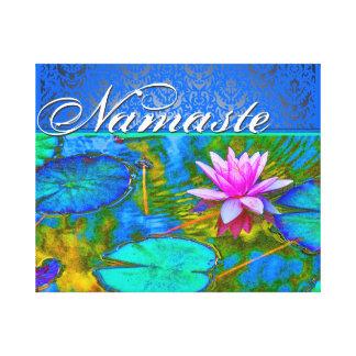 Zen Lotus Yoga Practioner's Elegant Damask Stretched Canvas Prints