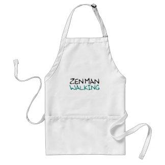 Zen Man Walking (blue breath edition) Adult Apron