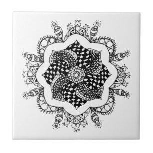 Zen Mandala Pen And Ink Design Ceramic Tile