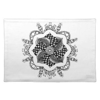 Zen Mandala - pen and ink design Cloth Placemat