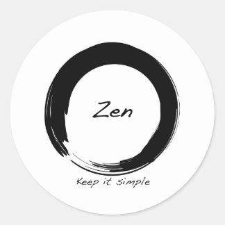 Zen: Manténgalo simple Pegatina Redonda