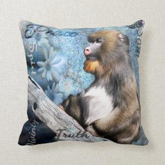 Zen Meditating Mandrill Throw Pillow