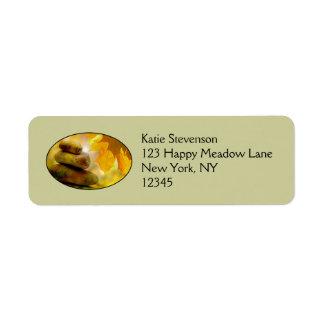 Zen meditation stones and Maple Leaves Label