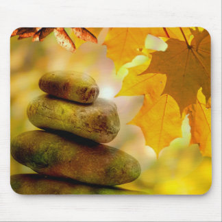Zen meditation stones and Maple Leaves Mouse Pad