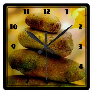 Zen meditation stones square wall clock