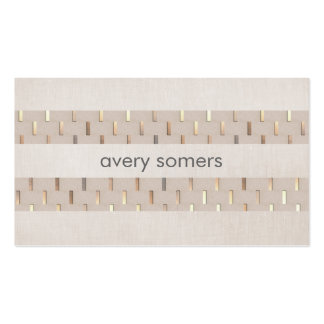 Zen Minimalist Striped Faux Beige Linen and Gold Double-Sided Standard Business Cards (Pack Of 100)
