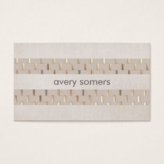 Zen Minimalist Striped Faux Beige Linen And Gold Business Card at Zazzle