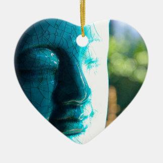 Zen Morning Double-Sided Heart Ceramic Christmas Ornament