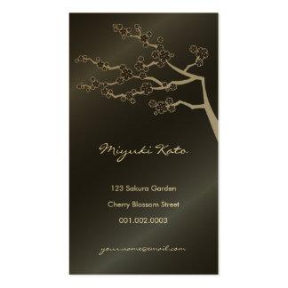 Zen negro de Oriental de las flores de las flores  Tarjeta De Visita