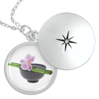 Zen orchid locket necklace