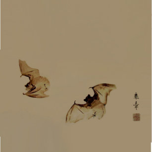 Zen Painting Bats Ceramic Tile