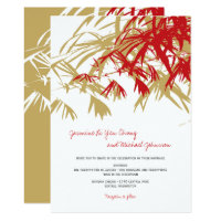 Zen Red Bamboo Leaves Modern Asian Wedding Invite