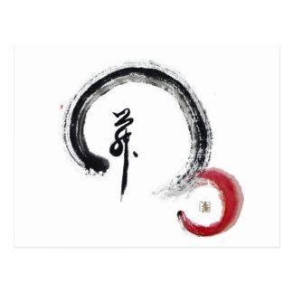 Zen Red - Enso Postcard