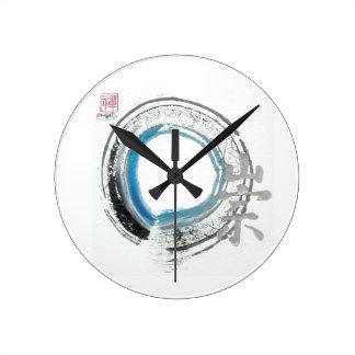Zen Reverence,  Enso[blue, black, silver tones] Round Wallclocks