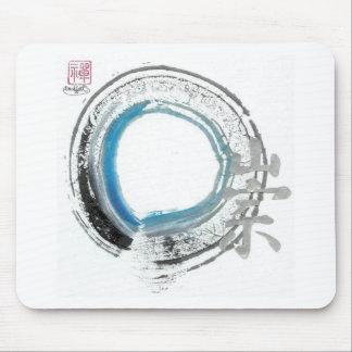 Zen Reverence,  Enso[blue, black, silver tones] Mouse Pad