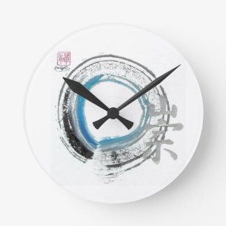 Zen Reverence,  Enso[blue, black, silver tones] Round Clock