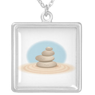 Zen Rocks Square Pendant Necklace
