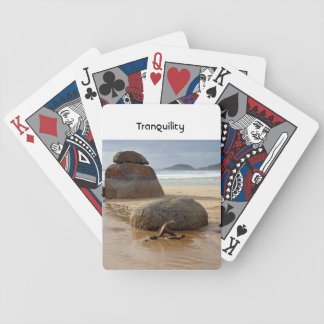 Zen Stacked Boulders on Beach Bicycle Playing Cards