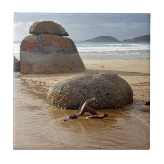 Zen Stacked Boulders on Beach Ceramic Tile