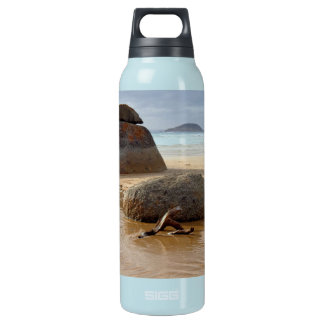 Zen Stacked Boulders on Beach Insulated Water Bottle