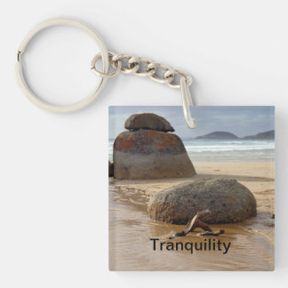 Zen Stacked Boulders on Beach Double-Sided Square Acrylic Keychain