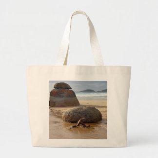 Zen Stacked Boulders on Beach Large Tote Bag
